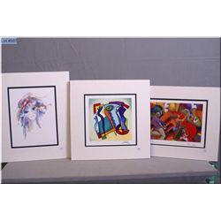"Three unframed prints including ""Amethysta"" by Shan-Merry , ""Blue on Blue"" by Alfred Gockel and ""Lov"