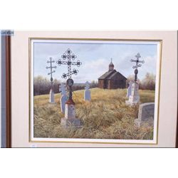 """An original acrylic on board painting """"Pioneer Graveyard"""" by local Alberta artist Isabelle Levesque"""