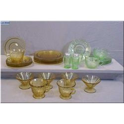 A selection of vintage depression glass including four ice-cream bowl, four side plates and five bre