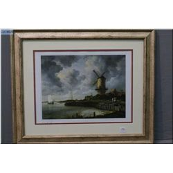 """A framed print """"Windmill at Wijk"""" signed in pencil by artist Ruisdael (note signature partially belo"""