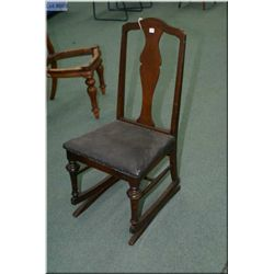 A vintage T-back nursing rocker creatively converted to a side chair