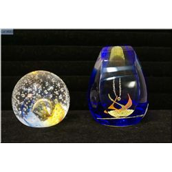 Two Caithness paperweights including Caithness Collectors Club Reflections 1992 and Collector's Club
