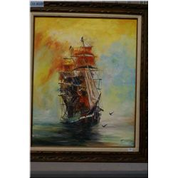 """A large framed oil on canvas painter of a ship at sea signed by artist Cisneros 30"""" X 24"""""""