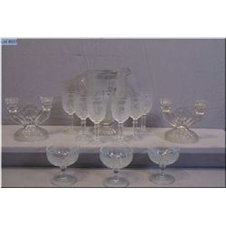 A selection of vintage Iris and Herringbone including pitcher, six stemware glasses, three ice-cream