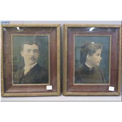 A pair of vintage shadow boxed framed coloured portraits