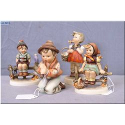 """Three small Hummel figurines including """"Just Resting"""", """"Little Sho"""" and """"Wayside Harmony"""" plus a reg"""
