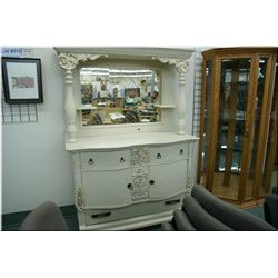 A painted antique Canadiana mirror backed sideboard