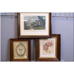 "Three pictures including Currier and Ives ""The Abbey of the Holley Cross"", deep framed Lords prayer,"