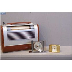 Two vintage Westclox bedside clocks and a Victor radio