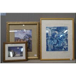 Three framed pictures including limited edition block print, vintage school yard picture and wolves