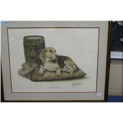 "Framed print ""Old Dog Tray"" signed in ink by artist Barry Michaels"