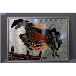 A framed original enamel on aluminium painting featuring two horse signed by artist Gauaraiza (?) 18