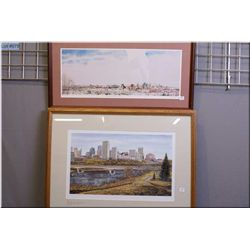 """A framed limited edition painting """"Edmonton in Winter"""" by local artist Eva Bartell 312/980 and a fra"""