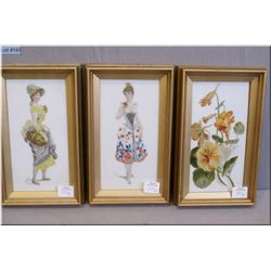 "Three vintage framed paintings on milk glass panels, no signatures found 7"" X 3 1/2"""