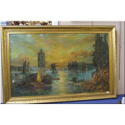 "An antique gilt framed lighthouse and coastal shores painting, no signature found 29"" X 48"""