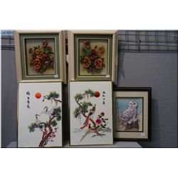 Five framed pictures including two embroidered on silk Oriental motif and three paper toile pictures
