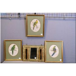 Three gilt framed coloured bird prints and an embossed brass wall mount mirror and clothes brush set