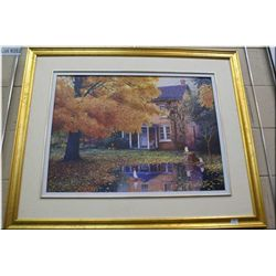 """A limited edition gilt framed print """"Evening Reflections'"""" 8/450 by artist Neal Young"""