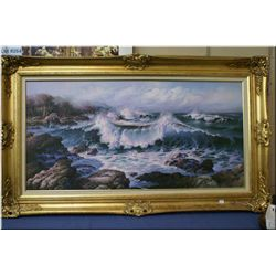 """A gilt framed oil on canvas painting """"Crashing Waves"""" signed by artist H. Roberton 24"""" X 48"""""""
