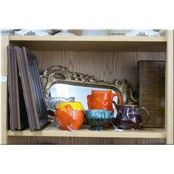 A selection of collectibles including pottery needleworks, treenware, wall clock etc.