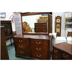 A five drawer mahogany highboy and matching six drawer mirrored dresser by Drexel