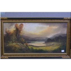 """Vintage framed pastel painting of a mountain lake scene, artist signed 12"""" X 24"""""""