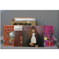 Box of LPs including Juice Newton, Harry Belafonte, The Carpenters, Liberace, Neil Diamond, Charlie