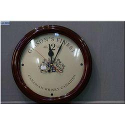 A Gibson's Whiskey quartz wall clock