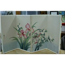 A four panel floral screen/wall hanging