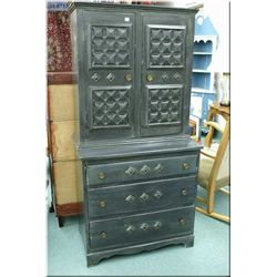 Chest on chest painted Spanish style cabinet