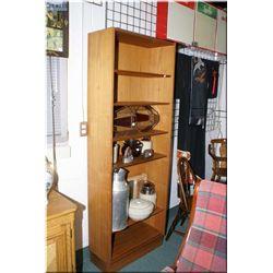 Six tier solid teak bookcase