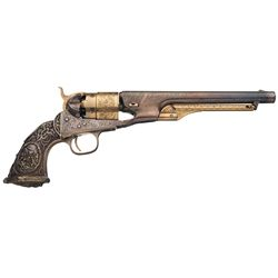 Engraved Gold and Silver Plated Colt Model 1860 Army Percussion Revolver with Ornate Cast Grip