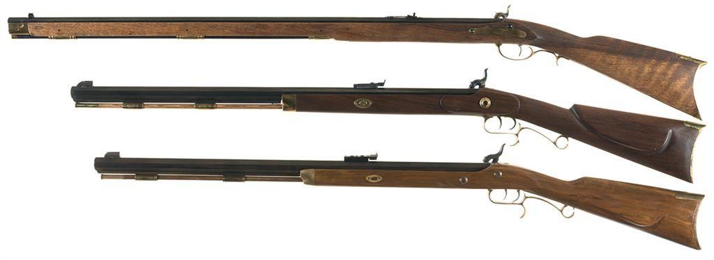 Three Reproduction Percussion Rifles -A) Italian Full Stock Kentucky Rifle