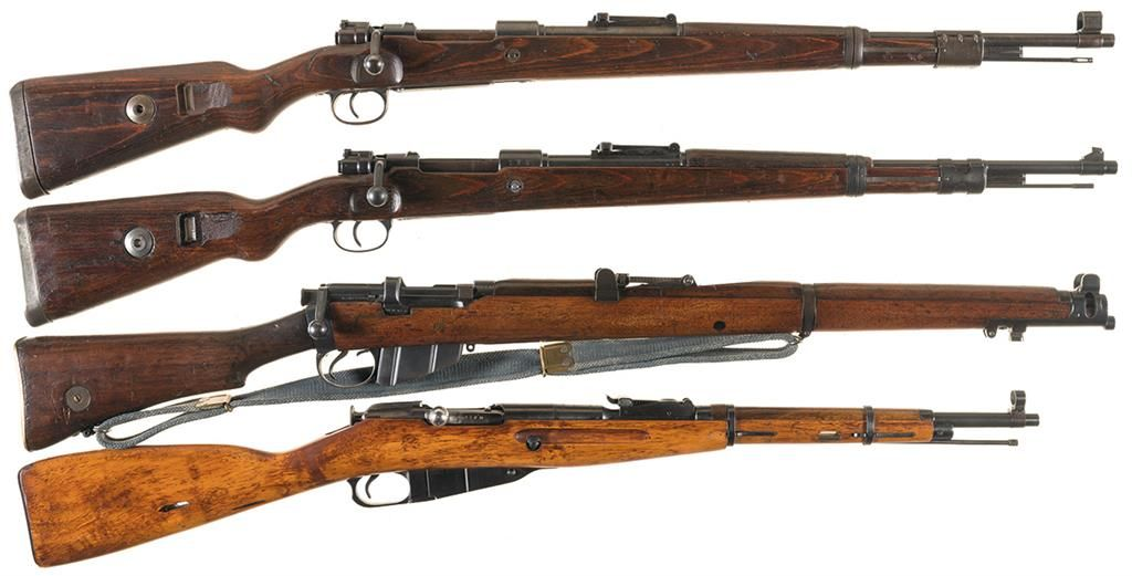 Four Military Bolt Action Rifles -A) Nazi bcd Code 43 Dated Mauser Model 98  Rifle