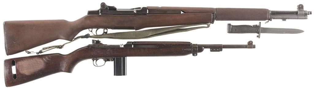 Two U S  Semi-Automatic Longarms -A) Springfield M1 Garand Rifle with  Bayonet