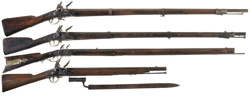 Four Flintlock Long Guns -A) Unmarked Flintlock Musket