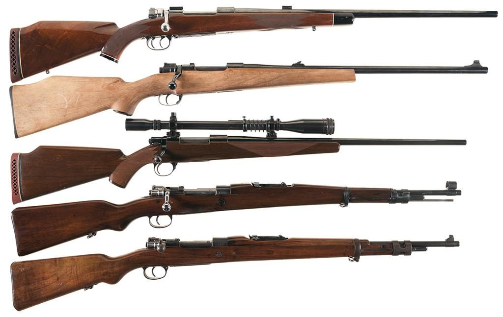 Five Bolt Action Rifles -A) Engraved Sprague Mauser Custom K98 Rifle