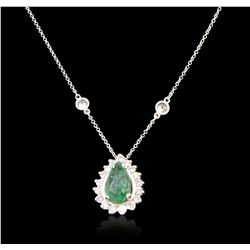 14KT White Gold 1.55ct Emerald and Diamond Necklace A6779
