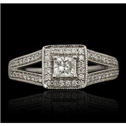 14KT White Gold 0.98ctw Diamond Wedding Set A6817