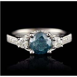 14KT White Gold 1.90ctw Fancy Greenish Blue Diamond Ring A4850