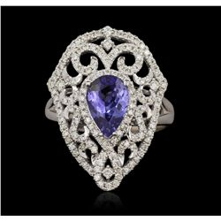 14KT White Gold 1.60ct Tanzanite and Diamond Ring A6675