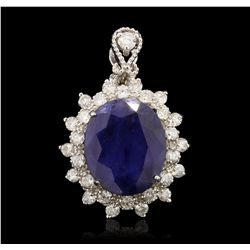 14KT White Gold 7.82ct Sapphire and Diamond Pendant A7100