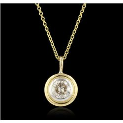 14KT yellow gold 0.50ctw Diamond Pendant With Chain GB3403