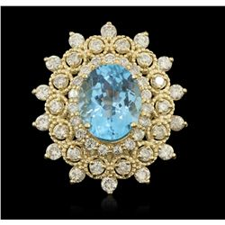 14KT Yellow Gold 5.46ct Blue Topaz and Diamond Ring LAJB29