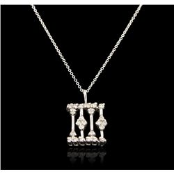 14KT White Gold 0.15ctw Diamond Pendant With Chain GB4197