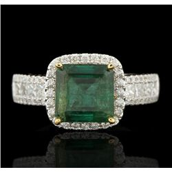 14KT White Gold 2.68ct Emerald and Diamond Ring A5921