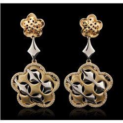 14KT Yellow Gold 0.75ctw Diamond Dangle Earrings A6923