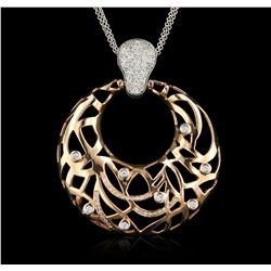 14KT Rose and White Gold 0.88ctw Diamond Pendant With Chain A6908