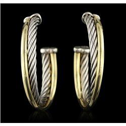 David Yurman Two-Tone Crossover Hoop Earrings GB4571