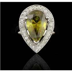 14KT White Gold 6.20ct African Sphene and Diamond Ring DJ45